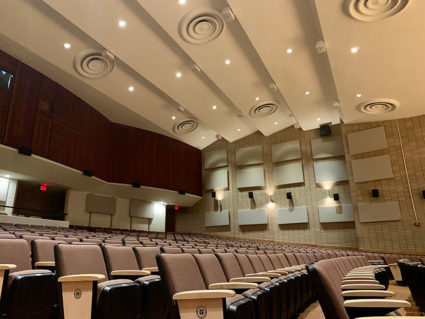 Acoustical panels on Whitehead Auditorium's side and back walls improve the natural room acoustics and eliminate distracting flutter echoes.