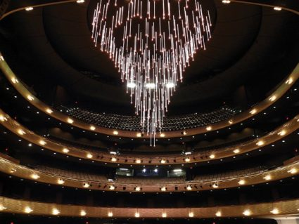 "The ""falling stars"" chandelier at Winspear Opera House"