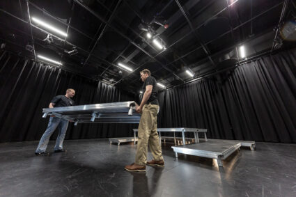 A Black Box Theatre provides a separate, smaller performance space where Wenger's StageTek® Seated Risers and Staging equipment can be configured in a variety of ways.